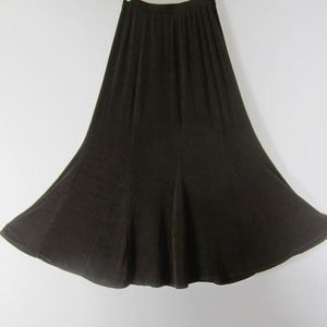 Chicos 0 Travelers XS Brown Midi Flare Panel Skirt